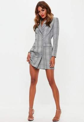 Missguided Gray Hertitage Plaid Blazer Dress