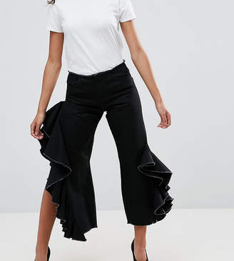 Asos STRAIGHT Leg Jeans With Cascading Ruffle Side In Clean Black