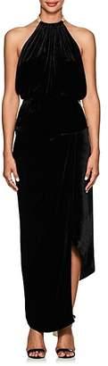 Juan Carlos Obando Women's Satin-Trimmed Velvet Halter Gown - Black