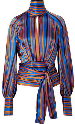 Petar Petrov Open-back Striped Silk-satin Wrap Blouse - Blue