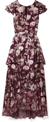 Alice + Olivia Alice Olivia - Jenny Tiered Floral-print Fil Coupé Chiffon Maxi Dress - Burgundy
