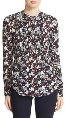 Women's Veronica Beard 'Goldie' Floral Print Pintuck Silk Blouse $350 thestylecure.com