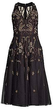 Aidan Mattox Women's Sleeveless Embroidered Polka Dot Midi Dress