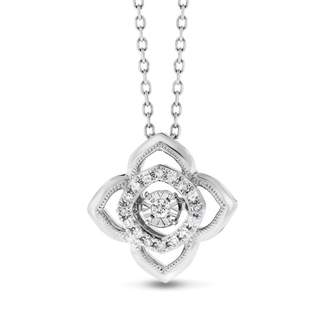 14k White Gold 0.10 Ct. Natural Floating Diamond Clover Pendant