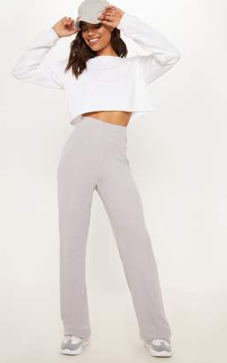 PrettyLittleThing Ice Grey Soft Rib Wide Leg Casual Trouser