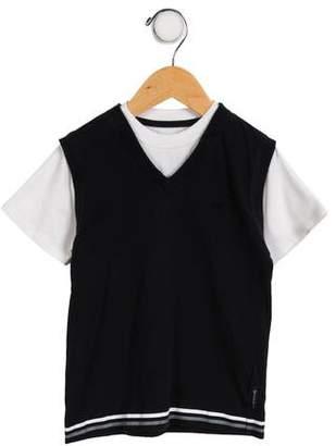 Armani Junior Boys' Short Sleeve Two-Tone Shirt