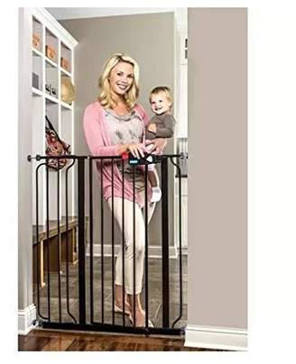 Regalo Deluxe Easy Step 41 Extra-tall Walk Through Pet & Baby Safety Security Gate Black - Steel Construction Durable and Sturdy - 1-hand Open with Safety Locking Feature by