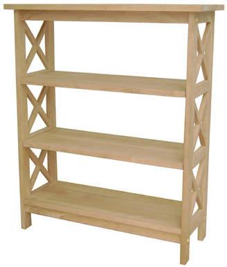 International Concepts Unfinished Wood Etagere Bookcase