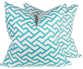 One Kings Lane Vintage Turquoise Pillows - Set of 2 - Ivy and Vine