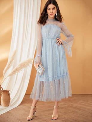 Shein Frilled Neck Bell Sleeve Star Mesh Overlay Dress