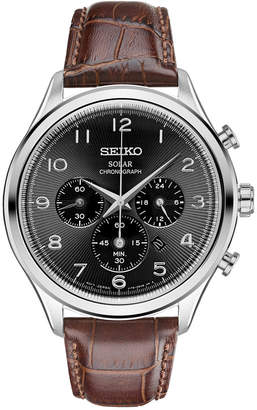 Seiko Men's Chronograph Solar Classic Brown Leather Strap Watch 42mm SSC565