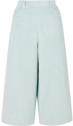 See by Chloe Cropped Cotton-blend Corduroy Wide-leg Pants - Sky blue