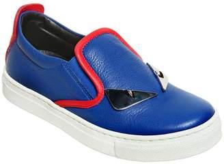 Fendi Monster Nappa Leather Slip-On Sneakers