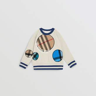 Burberry Check Appliqué Cotton Sweatshirt