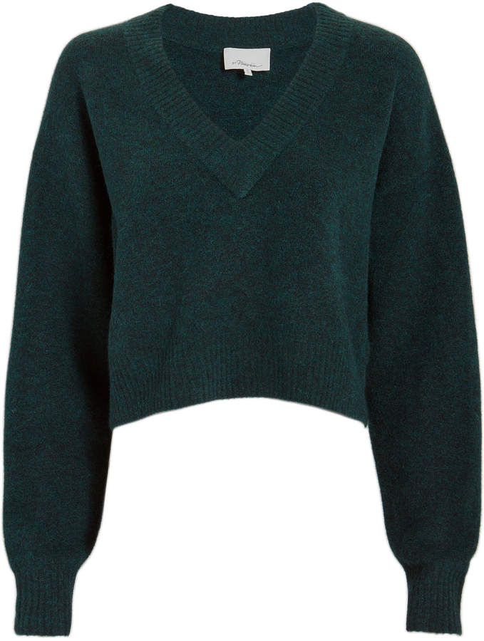 3.1 Phillip Lim Lofty V-Neck Green Sweater
