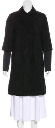 Max Mara 'S Long Sleeve Suede Coat