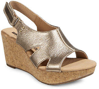 Clarks Annadel Bari Leather Wedge Sandals