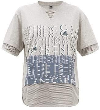 adidas by Stella McCartney Logo Print Cotton Blend T Shirt - Womens - Grey