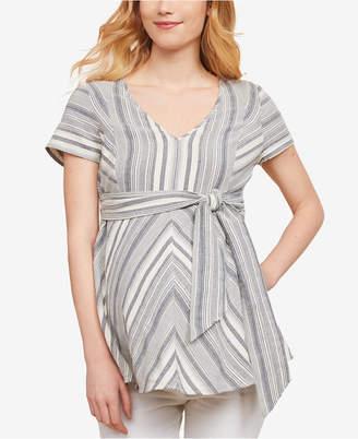 Jessica Simpson Maternity Cotton Tie-Front Top