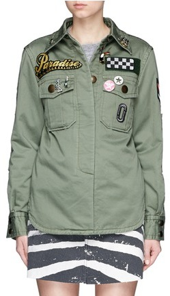 Marc JacobsMarc Jacobs Embellished enzyme wash padded military shirt