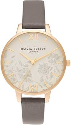 Olivia Burton Lace Detail Leather Strap Watch, 34mm