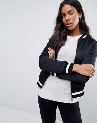 Brave Soul Absolute Bomber Jacket with Stripe Rib Trim