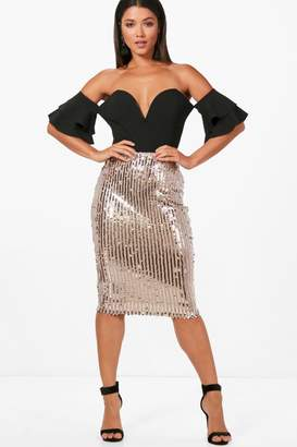 boohoo Sequin Stripe Midi Skirt