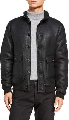Valstar Men's Sheepskin Button-Front Jacket w/ Shearling Lining