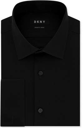 DKNY Men's Classic/Regular-Fit Performance Stretch Wrinkle-Resistant Black French Cuff Dress Shirt