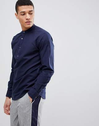 Jack and Jones Linen Mix Half Placket Shirt