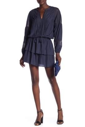 Ramy Brook Winnie Lace Panel Tiered Skirt Dress