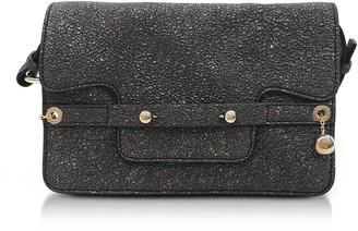 RED Valentino Gunmetal Crackled Metallic Leather Flap Top Crossbody Bag
