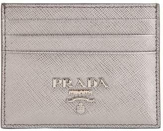 Prada Saffiano Metallic Leather Card Holder