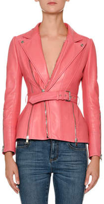 Alexander McQueen Peak-Lapels Belted Zip-Front Leather Moto Jacket