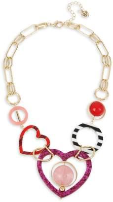 Betsey Johnson Unbreak My Heart Beaded Statement Necklace
