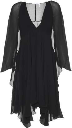 See by Chloe Cape-detail Silk-crepe Dress