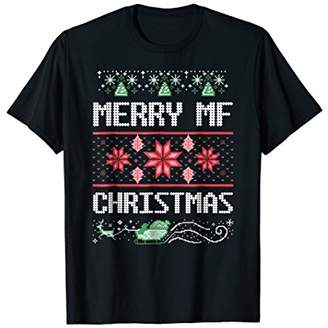 Merry MF Christmas Funny Ugly Sweater Style Adult T Shirt