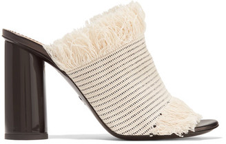 Proenza Schouler - Fringed Woven Canvas Mules - Off-white $595 thestylecure.com