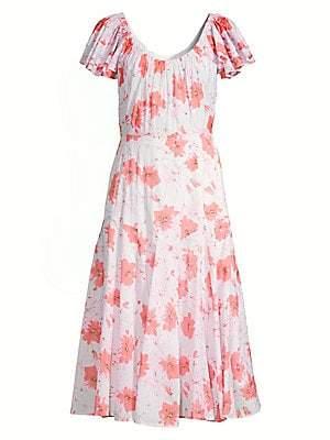 Rebecca Taylor Women's Louise Floral Midi A-Line Dress