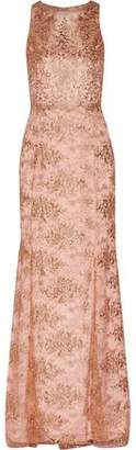 Marchesa Metallic Embroidered Tulle Gown
