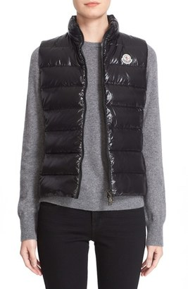 Women's Moncler Ghany Water Resistant Shiny Nylon Down Puffer Vest $540 thestylecure.com