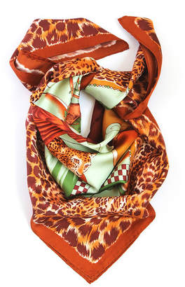 Belle Epoque L'illustration  Rust Leopard Silk Scarf