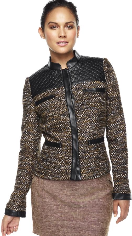 Quilt-Trimmed Tweed Jacket