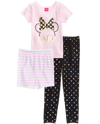 Disney's Minnie Mouse 3-Pc. Cotton Pajama Set, Little Girls & Big Girls, Created for Macy's