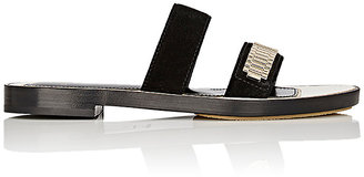 Lanvin Women's Chain-Strap Suede Slide Sandals $675 thestylecure.com
