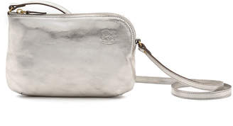 Il Bisonte Metallic Leather Zip Crossbody Bag, Silver