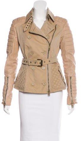Burberry Burberry Prorsum Leather-Paneled Moto Jacket