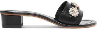 Musa Crystal-embellished Leather Mules - Black