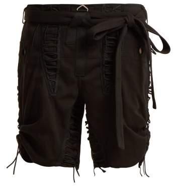Tie-waist lace-embellished shorts