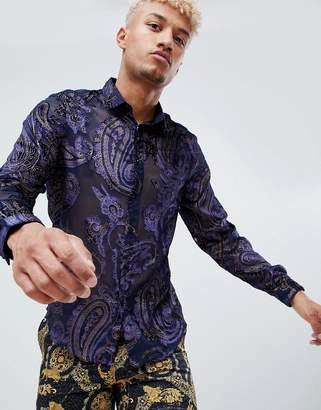 Asos DESIGN party regular fit velvet burnout paisley shirt in navy